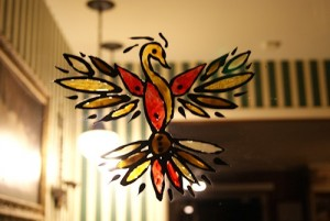 Our phoenix thunderbird. I mixed the elements of both worlds in its design, making sure to include medicine wheels and fire. Because who doesn't love fire?